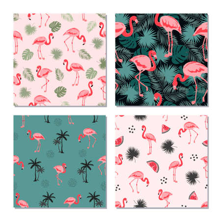 Seamless flamingo birds pattern. Vector set of tropical backgrounds with flamingos and leaves. 矢量图像