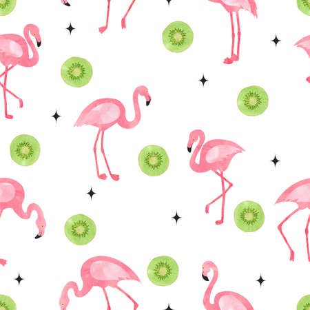 Flamingo bird pattern. Vector seamless watercolor tropical background with flamingos and kiwi fruit.