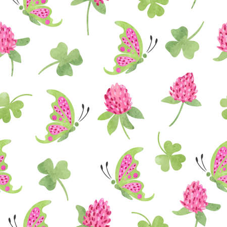 Seamless floral pattern with flying butterflies and clover flowers. Vector summer watercolor illustration.