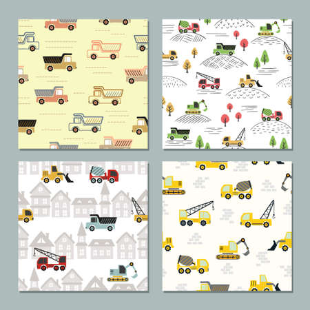 Seamless transport pattern with colorful trucks. Vector car set for kids.