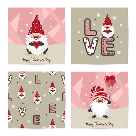 Valentines day card set with cute gnome and red hearts. Vector love illustration. 矢量图像