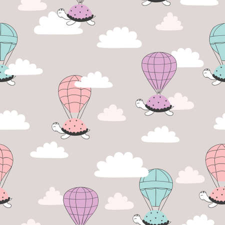 Seamless pattern with cartoon turtles and air balloons. Vector illustration for kids 矢量图像