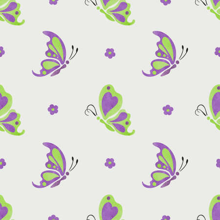 Flying butterflies pattern. Vector seamless purple and green illustration.