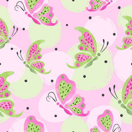 Flying butterflies pattern. Vector seamless pink and green illustration. Fashion print