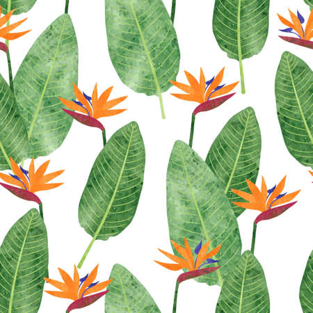 Seamless Strelitzia Reginae pattern with watercolor flowers and leaves. Vector tropical bird paradise flower background