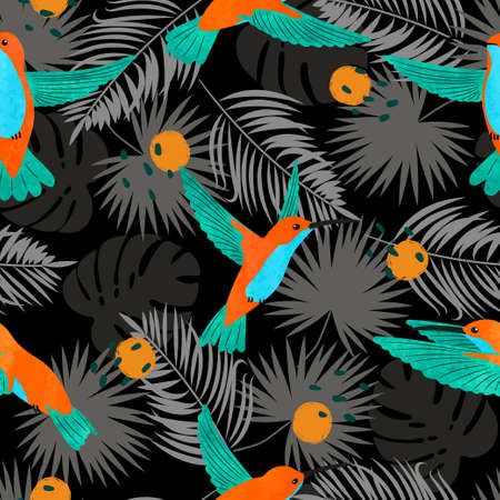 Seamless watercolor Hummingbirds and exotic tropical palm leaves pattern. Vector tropic illustration. 矢量图像