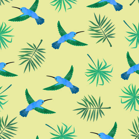 Hummingbirds and exotic palm leaves. Seamless watercolor tropical pattern.