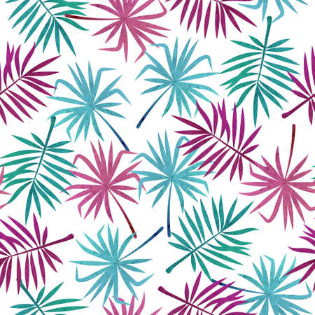 Colorful tropical leaves pattern. Seamless vector jungle tropic background.