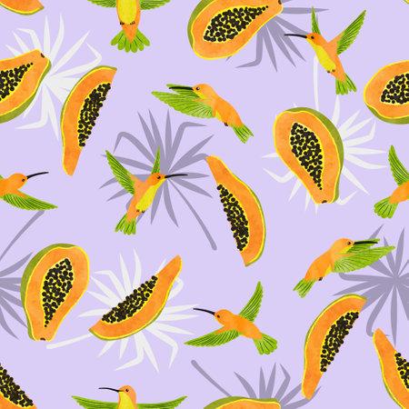 Seamless watercolor hummingbirds and papaya fruits pattern. Vector summer tropic background. 矢量图像