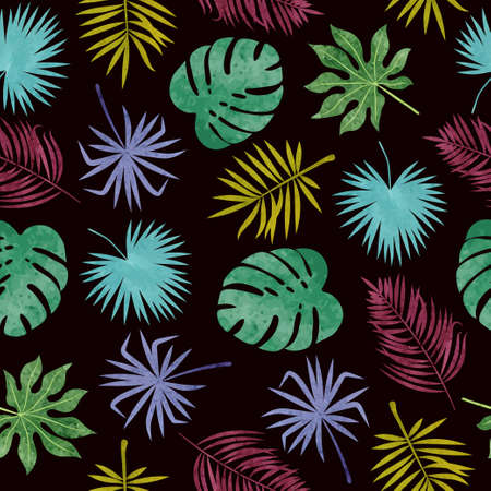 Seamless colorful tropical watercolor leaves pattern. Vector jungle tropic background.