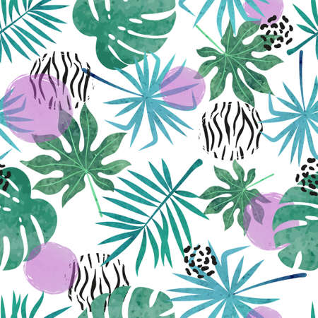 Abstract tropical leaves pattern. Seamless vector jungle tropic background.