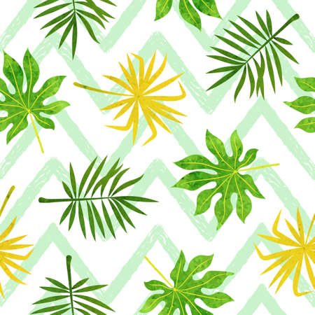 Abstract watercolor tropical leaves pattern. Seamless vector jungle background. 矢量图像