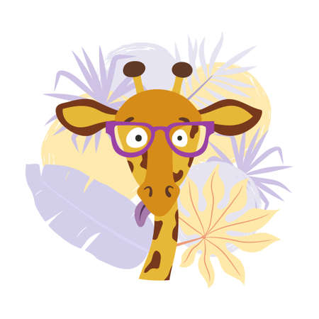 Cartoon giraffe with palm leaves. Vector illustration for print, fashion, t-shirt design