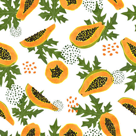 Tropical pattern with watercolor papaya and leaves. Vector seamless exotic fruit illustration.