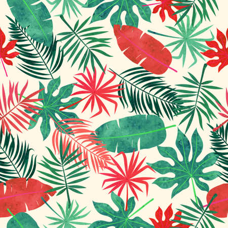 Tropical leaves pattern. Seamless vector red and green  watercolor jungle tropic background. 矢量图像