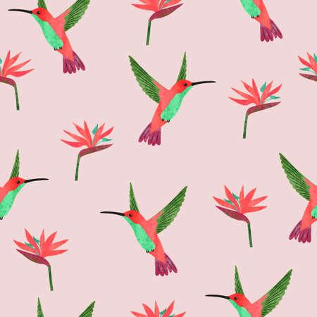 Seamless hummingbirds and Strelitzia flowers pattern. Vector summer tropical background.