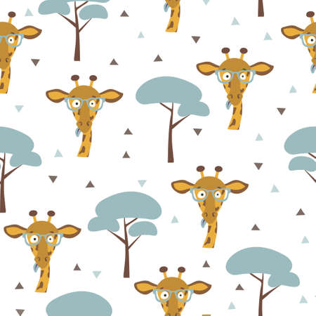 Seamless African pattern with funny giraffe and trees. Summer print for kids