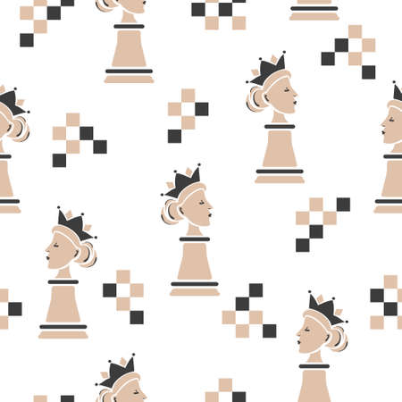 Chess Queen seamless pattern. Strategy game vector illustration. 矢量图像