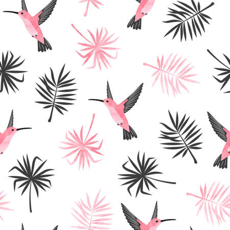 Hummingbirds and exotic tropical leaves pattern. Seamless watercolor tropic illustration.