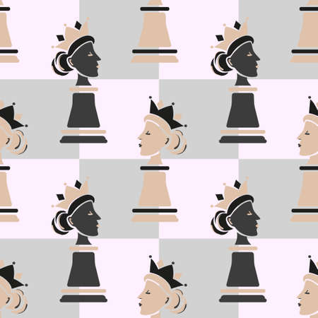 Seamless chess Queen seamless pattern. Strategy game vector illustration.