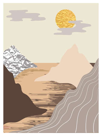 Mountain landscape wall arts set. Collection of abstract minimalist posters design with mountains, sea, sun