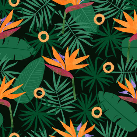 Seamless tropic pattern with strelitzia flowers and leaves. Vector tropical background