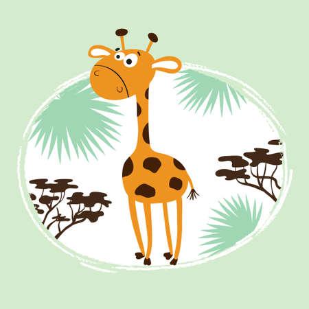 Cartoon giraffe with palm leaves. Vector childish illustration for print, fashion, t-shirt design