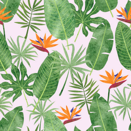 Seamless tropic pattern with watercolor strelitzia flowers and leaves. Vector tropical background 矢量图像