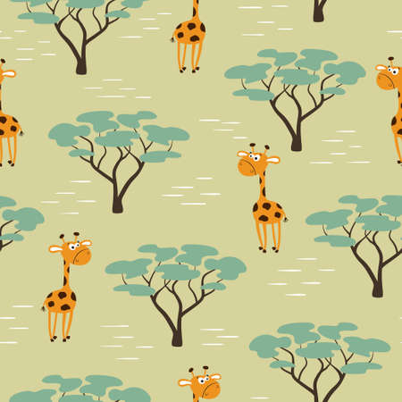 Seamless African pattern with cartoon giraffe and trees. Summer print for kids