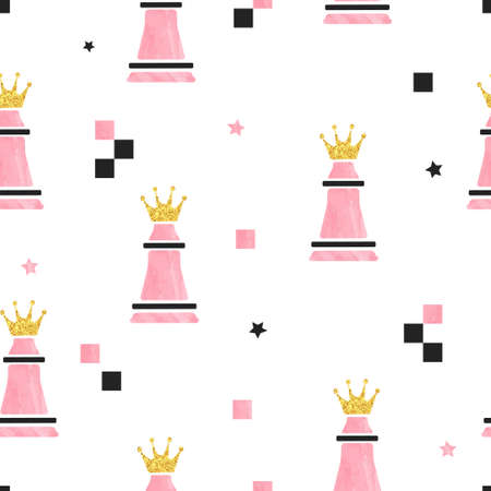 Chess Queen seamless pattern. Strategy game vector background. 矢量图像