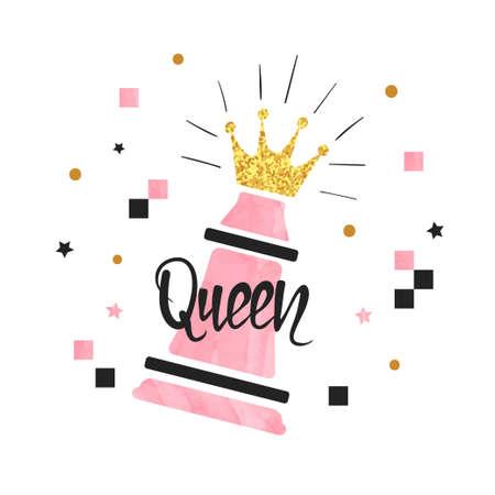 Chess Queen piece vector illustration. Winning concept print. 矢量图像