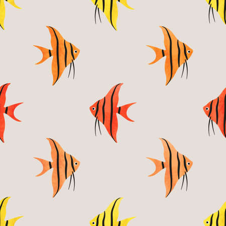 Сolorful Fish seamless pattern. Underwater background with angelfish