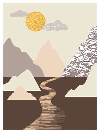 Mountain landscape wall arts set. Collection of abstract minimalist posters design with mountains, sea, sun, river