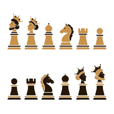 Vector set of cartoon chess pieces: king, queen, bishop, knight, rook, pawn isolated on white background.