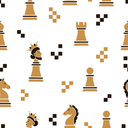 Chess pieces seamless pattern. Strategy game vector illustration.