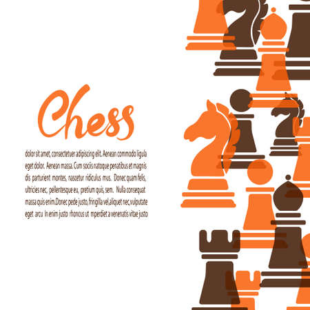 Chess game poster. Vector banner with chess pieces and place for text. 矢量图像
