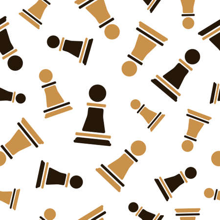 Chess Pawn seamless pattern. Strategy game background. Vector chess pieces illustration. 矢量图像