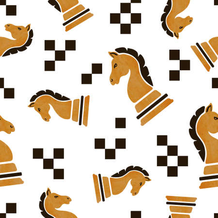 Chess knight piece seamless pattern. Strategy game vector illustration. 矢量图像