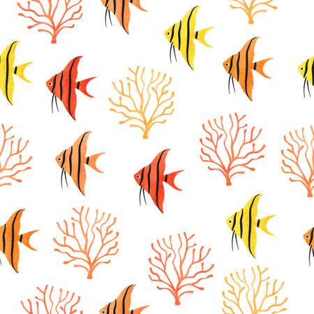 Bright Fish seamless pattern. Underwater watercolor coral reef background. Hand drawn corals and angelfish. 矢量图像