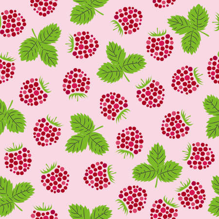Seamless raspberry pattern. Vector illustration with berries and leaves.