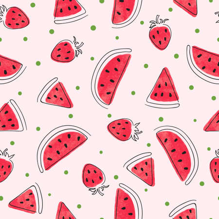 Seamless watercolor watermelon and strawberry pattern. Summer berry print 矢量图像