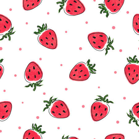 Seamless strawberry pattern. Vector summer watercolor illustration with berries 矢量图像