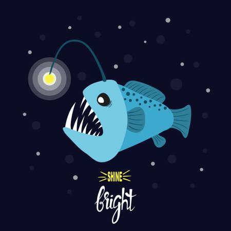Cartoon angler fish. Vector illustration of anglerfish character.