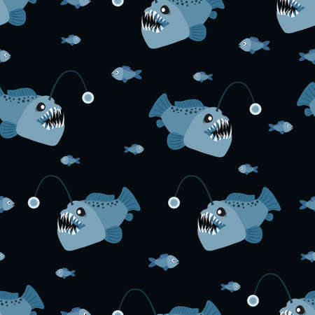 Seamless cartoon angler fish pattern. Vector marine background with anglers. 矢量图像