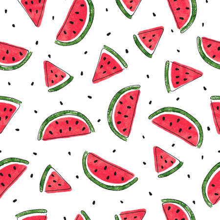 Seamless watermelons pattern. Vector summer background with watercolor watermelon slices.