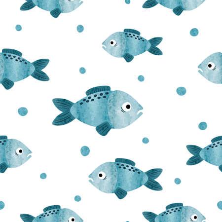 Seamless vector watercolor sea fish pattern.