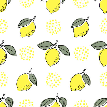 Seamless lemons pattern. Minimal one line citrus lemon fruit vector illustration.
