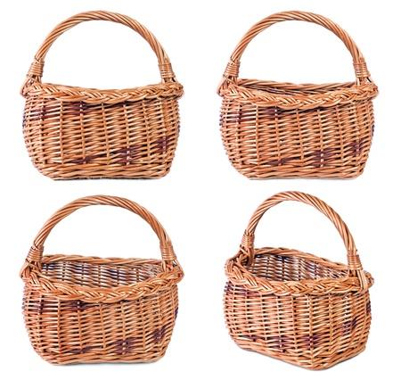Wicker basket isolated on white background  Stock Photo