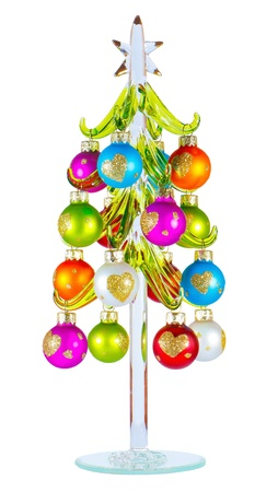 Christmas balls hanging on the glass Christmas tree  Stock Photo