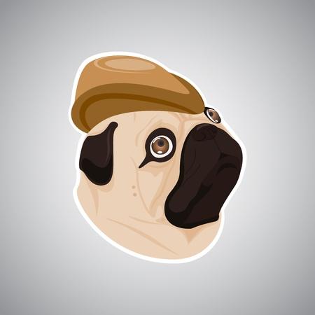 wrinkled face: dog brown hat Illustration